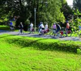 Cyclists leaving ship